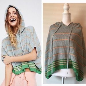 NWOT Free People knitted hooded poncho